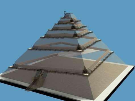 Un couloir interne courant juste sous la surface le pyramide : c'est l'hypothèse de Jean-Pierre Houdin. A chaque angle, une encoche à ciel ouvert permet de manœuvrer les pierres pour leur faire prendre le virage. Grâce à lui, il est possible de monter les pierres jusqu'au sommet. Une rampe externe est visible également, mais elle est très réduite et ne sert qu'à la descente des ouvriers. Crédit : Dassault Systèmes
