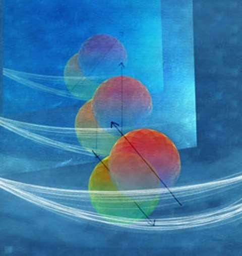 Une représentation d'artiste de la superposition quantique des états de spin de plusieurs électrons (boules rouges ou vertes). Ces états de spin correspondent aux flèches orientées parallèlement, mais en sens opposés sur le schéma. © Aalto University