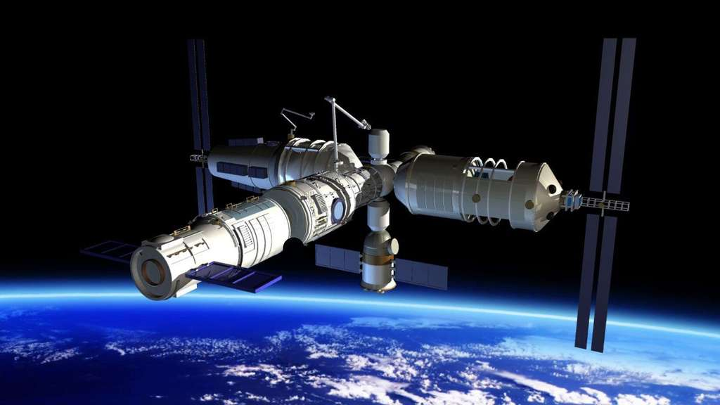 Vue d'artiste de la future station spatiale chinoise qui pourra accueillir jusqu'à 6 personnes. Une fois opérationnelle, elle sera occupée en permanence par un équipage de trois taïkonautes. © CMSA