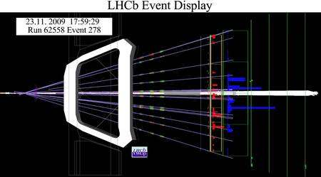 Cliquer pour agrandir. Les premières collisions de faisceaux dans LHCb. Crédit : Cern