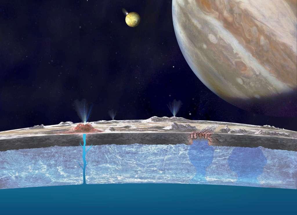 Une vue d'artiste du cryovolcanisme sur Europe avec une banquise épaisse de quelques kilomètres. La croûte superficielle de la banquise a subie le bombardement des rayons cosmiques ce qui a fait changer sa couleur. En arrière plan Io est en éruption au voisinage de Jupiter, crachant des matériaux soufrés. © Nasa, JPL CalTech