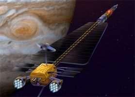 Dessin d'artiste de JIMO (pour Jupiter Icy Moons Orbiter).Cliquez sur l'image pour agrandir. crédit : JPL/NASA