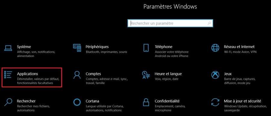 Allez dans les paramètres d'applications. © Microsoft