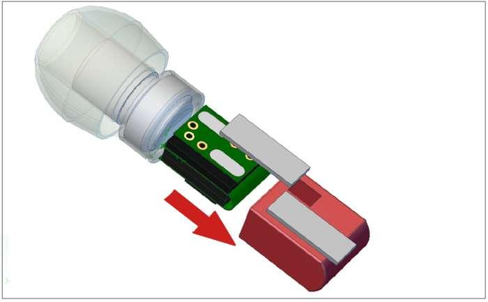 Chaque écouteur est doté d'un mini circuit enfermant un processeur, un accéléromètre, une mémoire pour stocker la musique et une batterie. Une horloge à quartz permet de synchroniser la diffusion du son sur les deux écouteurs lorsqu'ils sont détachés l'un de l'autre. Un autre système de synchronisation par ondes radio de faible puissance (NFC) est également intégré pour réaliser cette tâche. © Greenwind