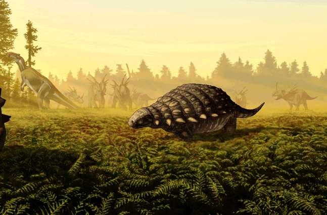 Un Panoplosaurus mirus dans son environnement du Crétacé. © J.T. Csotonyi, Wikimedia Commons, cc by sa 2.5