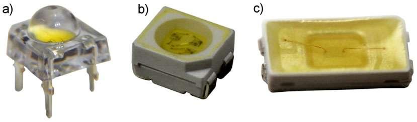 Différents boîtiers de Led : traversant (a), CMS sans pad de dissipation thermique de type PLCC4 (b) et CMS avec pad de dissipation thermique de type 5630 (c). © Led Engineering Development