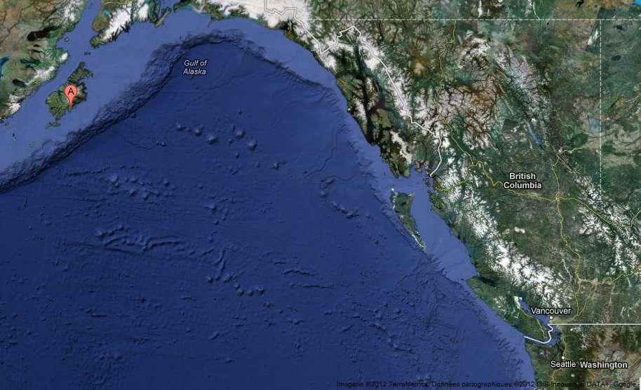 Cette image générée par Google Maps montre au point A (en haut à gauche) l'île Sitkalidak, où s'est échouée la plateforme Kulluk. À droite en bas de l'image, Seattle, dans l'état de Washington aux États-Unis, est le lieu où le Kulluk devait subir des opérations de maintenance. © Google Map
