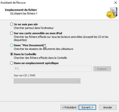 Recuva propose un assistant qui vous guidera pas à pas dans la préparation de la recherche des fichiers supprimés. © Futura-Sciences