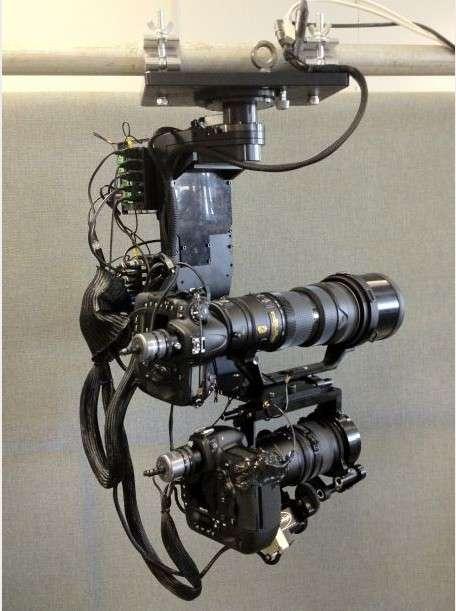 L'AFP utilise des appareils photo Nikon D4 parfois montés par deux. Ils sont pilotés à distance pour réaliser des clichés panoramiques depuis les points les plus hauts du stade des JO de Londres. © AFP