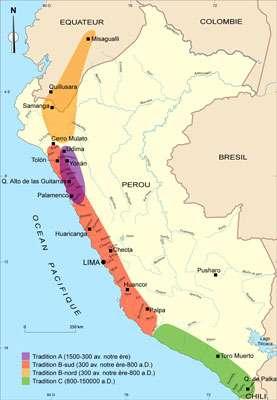 Carte de distribution des différentes traditions de pétroglyphes et principaux sites. © DR