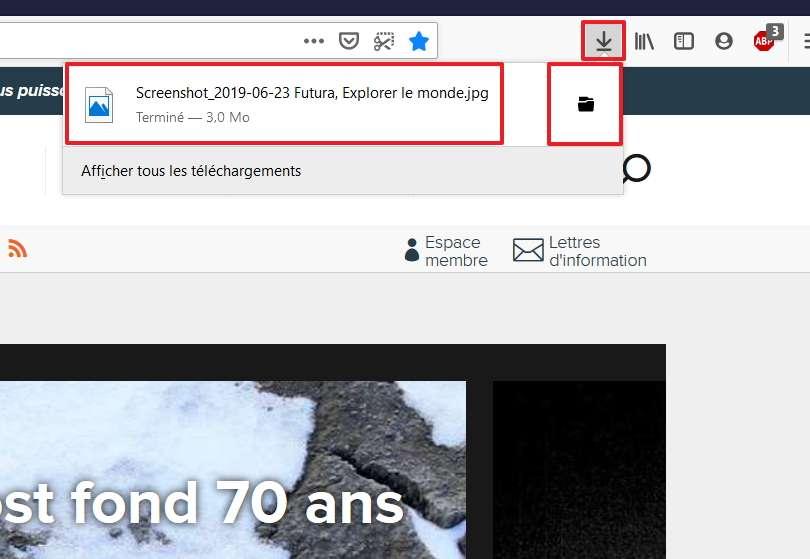 Vous pouvez ouvrir directement le fichier ou aller dans le dossier le contenant. © Mozilla Foundation