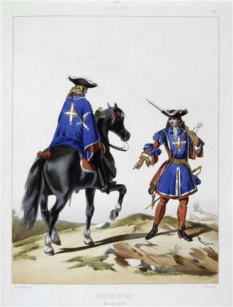 Mousquetaires du roi en 1688, par Gustave David d'après Dunoyer de Noirmont, XIXe siècle. © Wikimedia Commons, domaine public