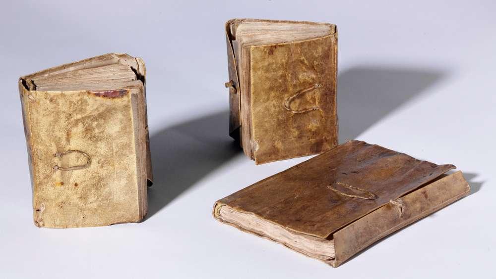 La minutie bien connue avec laquelle Léonard de Vinci a dessiné ses machines, tout comme ses études sur l'anatomie humaine, est d'autant plus surprenante que ces œuvres d'art ont été réalisés sur des carnets de petite taille. Sur cette photo sont réunis les trois carnets formant le Codex Forster, mesurant environ 9 cm sur 6. © Victoria and Albert Museum