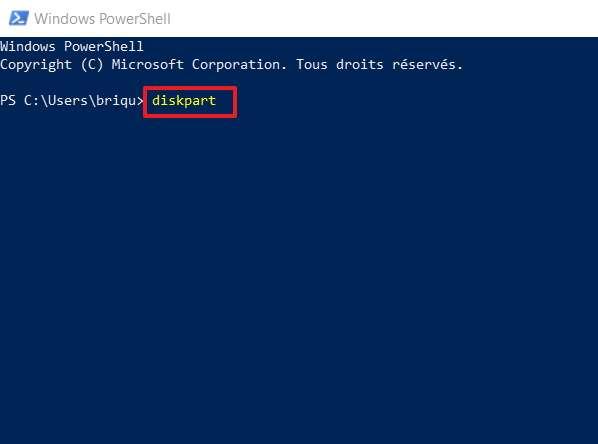 Écrivez «diskpart» puis validez. © Microsoft