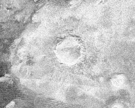 Image radar d'un cratère sur Titan