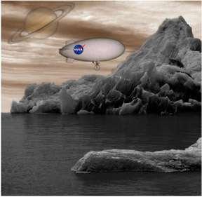 Projet d'un ballon gonflé à l'hélium de 10 m et de 2,5 m de diamètre. D'un poids de 100 kg, il serait capable de boucler un tour de Titan en une à deux semaines à une altitude variant entre la surface et 10 km. © Nasa / JPL
