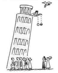 Illustration de l'expérience sur la chute des corps que, selon la légende, Galilée aurait faite du haut de la tour de Pise. © Paul G. Hewitt, Conceptual Physics, 1981