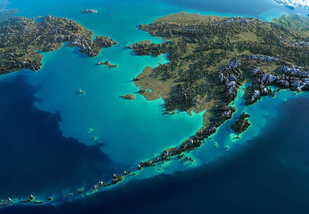 Parmi les phénomènes directement imputés au réchauffement climatique : une température élevée des eaux en certains endroits du globe. Ici, une image de synthèse du golfe d'Alaska et du détroit de Béring. © Anton Balazh, Fotolia