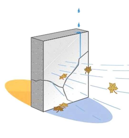 Les transferts d'humidité et de vapeur d'eau peuvent se faire à partir de fissures dans les murs. © DR