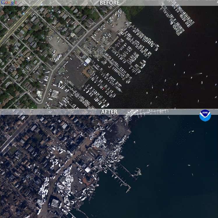 Le Staten Island, New York. L'image « avant » vient de Google Earth, et l'image « après » a été obtenue grâce aux avions de la NOAA. © NOAA