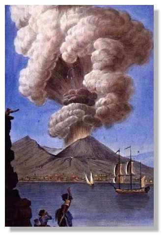 Eruption du vésuve en 1779 - Cette gouache a eté effectuée par Pierre Fabris, à la demande de Sir William Hamilton, ambassadeur anglais à Naples. En plus de sa charge diplomatique, Sir Hamilton s'est passionné pour l'observation des phénomènes naturels et notamment celle des éruptions du Vésuve. Sir Hamilton peut être considéré comme le premier volcanologue. Il a rédigé et envoyé régulièrement des comptes rendus à la Royal Society de Londres, qui étaient accompagnés de gouaches de P. Fabris. Les fureurs du Vésuve - L'autre passion de Sir William Hamilton Découvertes Gallimard Album © Gallimard, 1991