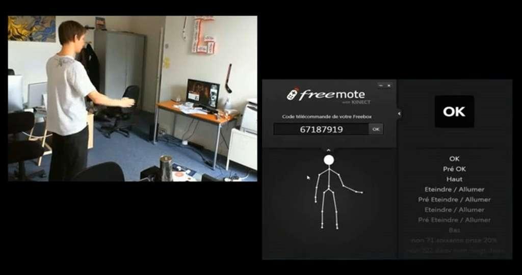 Après « La manette de jeux c'est vous », voici « la télécommande c'est vous ». Quelques mouvements permettent de changer les chaînes de la Freebox HD, d'augmenter le son ou encore de le couper. © GoProd/YouTube