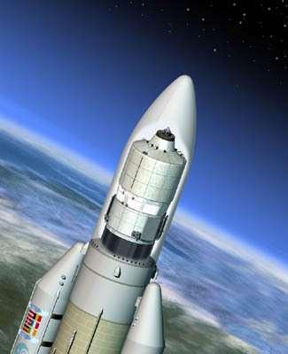 L'ATV intégré à la fusée Ariane 5 (Crédit : ESA)