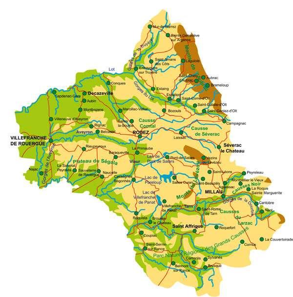 Carte de l'Aveyron - Cliquez pour agrandir