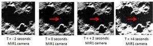 Quatre images saisies par l'instrument MIR1, travaillant dans le proche infrarouge, montrant l'endroit où s'est écrasé le module Centaur, avant l'impact (montré par la flèche rouge), au moment du choc, puis 2 et 4 secondes plus tard. (Cliquer sur l'image pour l'agrandir.) © Nasa