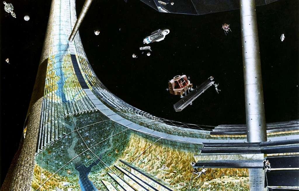 Une illustration d'artiste d'une colonie spatiale avec gravité artificielle, le Tore de Stanford. © Don Avis, DP