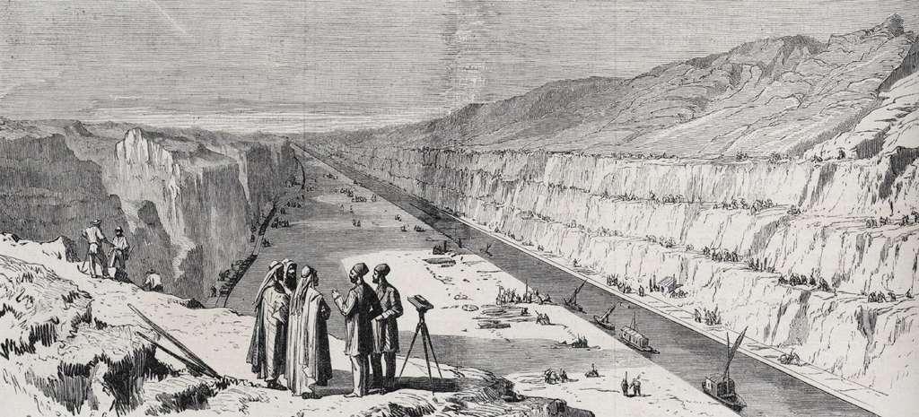 Vue des travaux du canal de Suez à son passage au seuil d'El-Guisr, dans Le Monde illustré du 28 septembre 1867. Bibliothèque nationale de France. © gallica.bnf.fr / BnF.