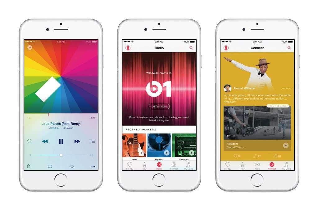 Le nouveau service d'écoute de musique en streaming Apple Music sera disponible à partir du 30 juin sur iPhone (iOS 8.4), Mac et PC puis, à l'automne, sur les mobiles Android. © Apple