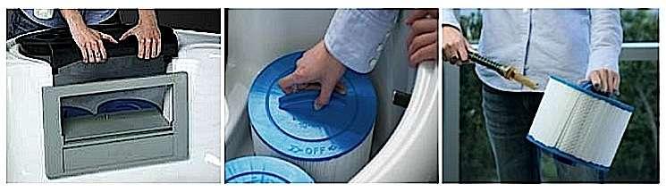 L'entretien du filtre à cartouches du spa. Mettez le spa en mode attente et soulevez le couvercle du skimmer. Retirez la(ou les) cartouche(s) et nettoyez au jet de bas en haut avant de remonter le tout. © bullfrogspas.com