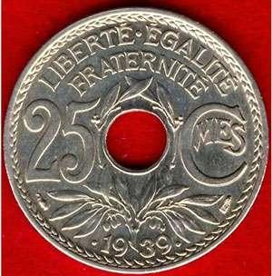 Pièce de 25 cts RF en maillechort, 1939