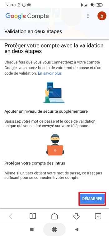 Appuyez sur « Démarrer ». © Google Inc.