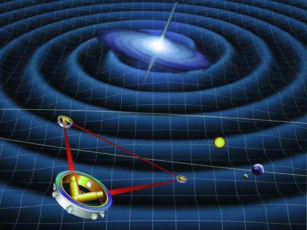 Une vue d'artiste de l'expérience LISA. Un rayon laser serait émis entre trois satellites correspondant ainsi à deux interféromètres ayant des bras de l'ordre de 5 millions de kilomètres. Crédit : Caltech.