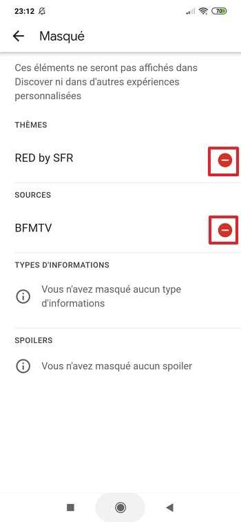 Débloquez des sources ou sujets en appuyant sur le bouton « sens interdit ». © Google Inc.