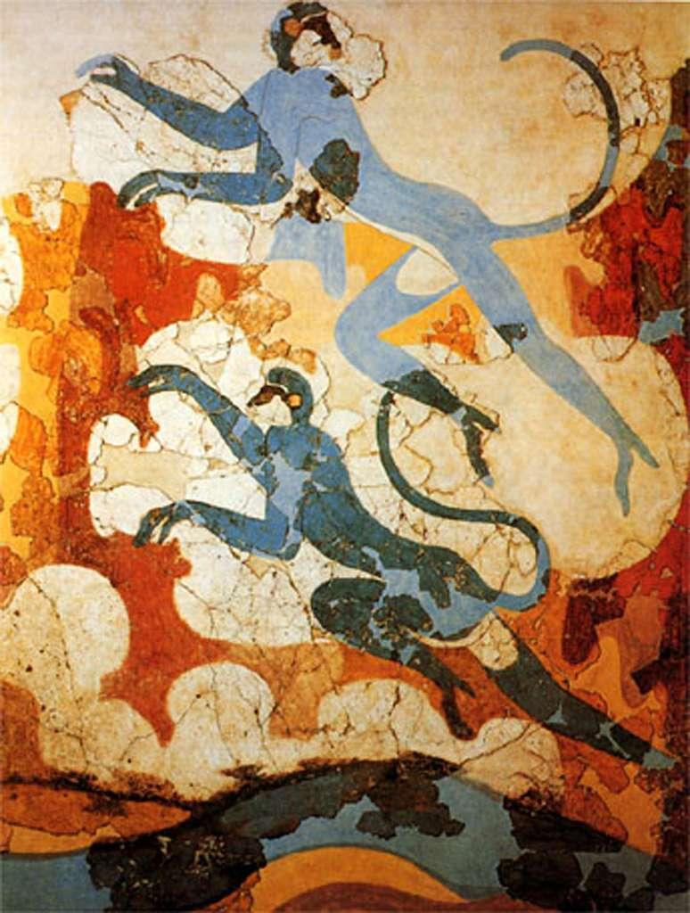 Fresque représentant des singes bleus, découverte à Akrotiri. © DP