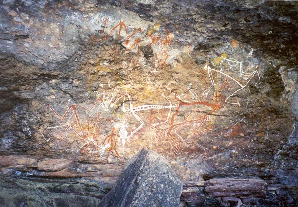 Peinture rupestre aborigène de Mimi, des esprits lumineux dans le parc national de Kakadu, en Australie. © Dustin M. Ramsey, Wikimedia Commons, cc by sa 2.5