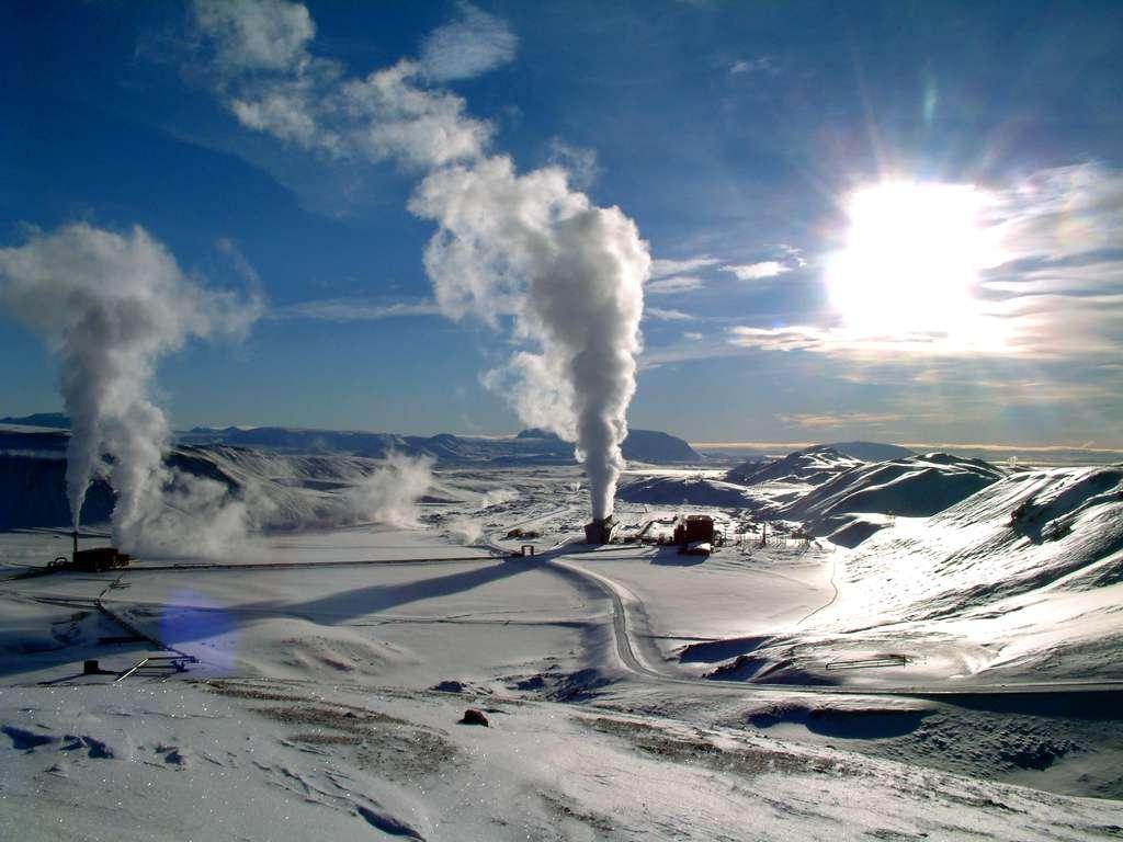 Le champ géothermique de Krafla en hiver (Islande). © Ásgeir Eggertsson, Wikipédia Commons