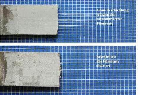 Coupe d'échantillon sans et avec revêtement de fibres de verre. On voit que sur l'échantillon supérieur qui n'a pas de revêtement de fibre de verre, la texture entre la fibre et la matrice de ciment est mauvaise. En revanche sur l'échantillon inférieur, avec le nouveau revêtement, la texture est meilleur. Crédits : http://www.ipfdd.de