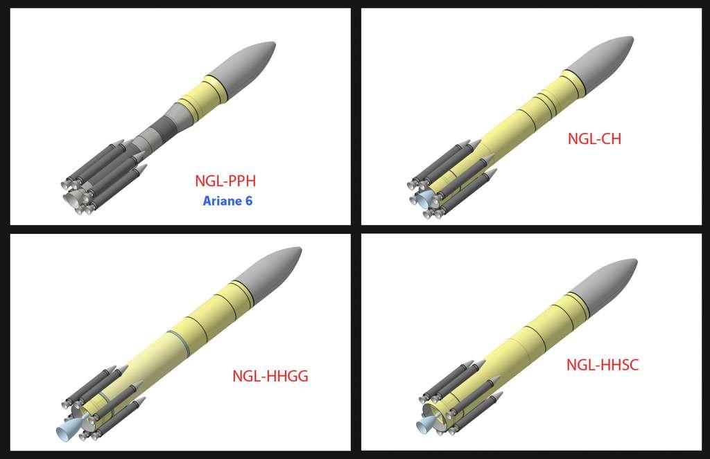 Les quatre concepts de lanceur de nouvelle génération à l'étude avant que l'Esa choisisse le concept PPH (en haut à gauche), qui deviendra Ariane 6 en 2021. © Astrium