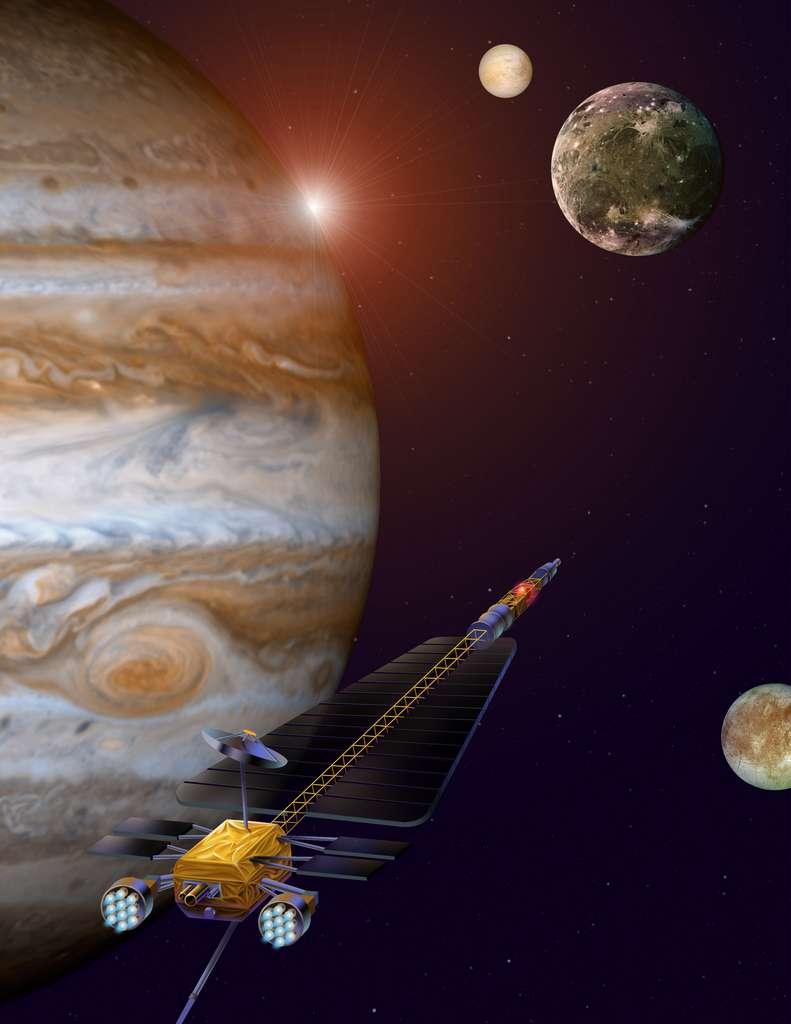 Le Jimo (Jupiter Icy Moons Orbiter) était une navette spatiale emportant un moteur nucléo-électrique et destinée à explorer les lunes de Jupiter. Trop coûteux, le projet a été abandonné en 2005. © Nasa