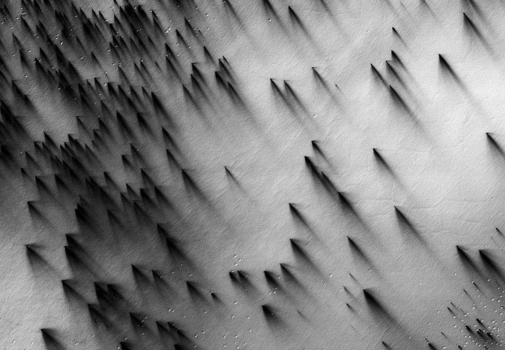 Vue de la calotte polaire sud au printemps par la caméra HiRise. Les premiers rayons du Soleil illuminent la calotte brillante de neige carbonique. Ce rayonnement chauffe la couche sous-jacente, provoquant par endroit une brusque sublimation du CO2, ce qui crée alors une forte pression de gaz qui perce la glace. Il se produit un geyser (non visible sur l'image) de glace et de poussières sombres qui retombent en aval du vent dominant. © Nasa, JPL, université d'Arizona, éditions Xavier Barral