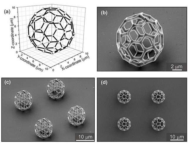 Une structure conçue sur ordinateur peut ensuite être reproduite sans problème avec le laser continu. On voit ici la fameuse structure de la molécule de fullerène en ballon de football. © Nanoscribe GmbH
