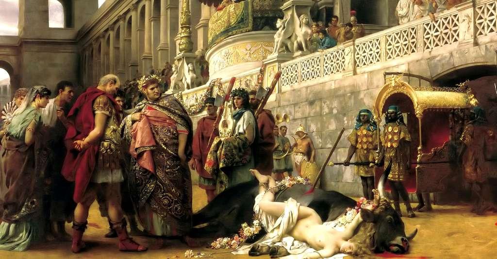 La mort de Dircé (1897), par Henryk Siemiradzki, est une reconstitution de l'épisode mythologique de la mort de Dircé avec une martyre chrétienne. © Cyfrowe.mnw.art.pl, DP