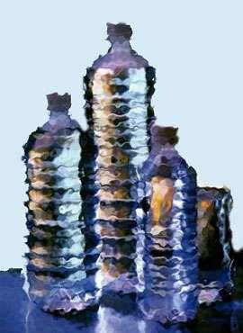 Bouteilles d'eau.