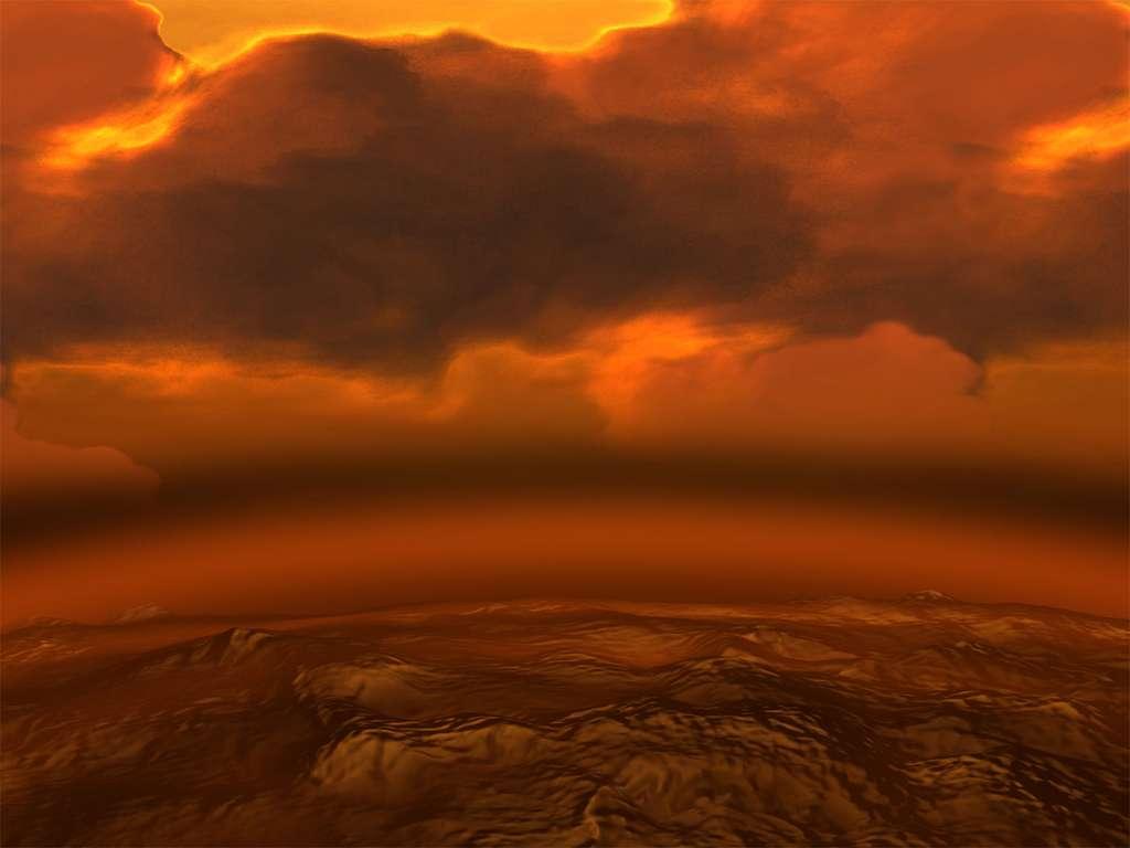 Vue d'artiste de la surface de Vénus. © Esa