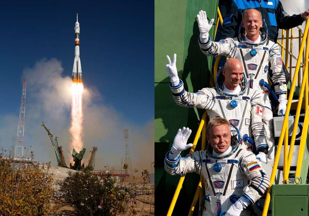 Décollage le 30 septembre 2009 du Soyouz TMA-16 avec à son bord les deux astronautes de l'Expedition 21 et le touriste spatial Guy Laliberté (au centre). © Nasa/Bill Ingals