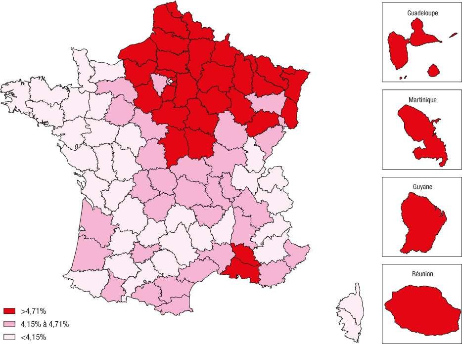 Prévalence du diabète traité pharmacologiquement standardisée sur la population française 2012 par département en 2012, France. © INVS/BEH